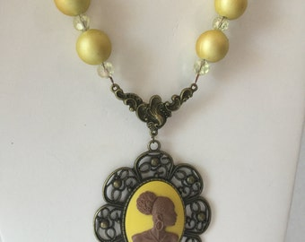 Yellow Vintage Cameo Necklace/Free Shipping