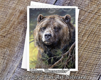 Wildlife Note Cards - Western Note Cards - Grizzly Bear Note Card - Wild Animal Art - Bear Prints - Grizzly Prints