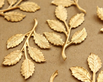 4 pc. Raw Brass Leafy Branch Stamping, 50mm by 32mm - made in USA | RB-693