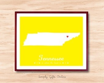 Tennessee map, State map print, Custom State Map, Personalized state map, Home decor, State map Wall Art, Office wall State map