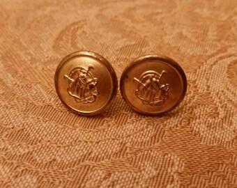 Vintage Ralph Lauren jacket button stud earrings 1/2 inch