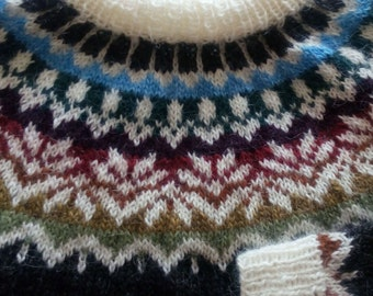 Handknitted Icelandic Fair Isle sweater, Lopapeysa for women