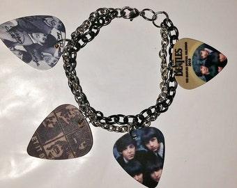 Double chain Beatles guitar pick charm bracelet