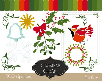Christmas clipart Mistletoe, Red Bow, Bell, Frame, Bird, Star,  Snowflake Ornament, Corners, Wreath  16 Clip Art Images