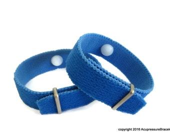Extra Strength Acupressure Bracelets for Motion Sickness, Illness, Nausea, Depression, Anxiety. Blue