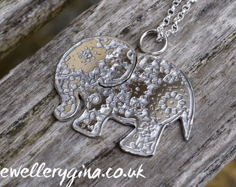 Hand-etched elephant necklace. Sterling silver pendant elephant. Exotic animal necklace to make a fashion statement.