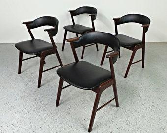 "mid century Danish modern Brazilian rosewood Kai Kristiansen K/S dining ""Z"" chairs"