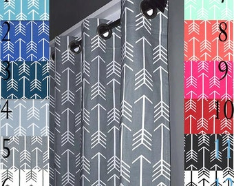 Arrow Curtains - FREE SHIPPING - Two Curtain Panels ANY Size - Red, Navy Blue, Gray, Mint, Coral, Pink, Orange, Black, Aqua Curtains