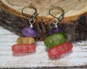 Nickel and lead free purple, orange, red and green crackled quartz lever back earrings