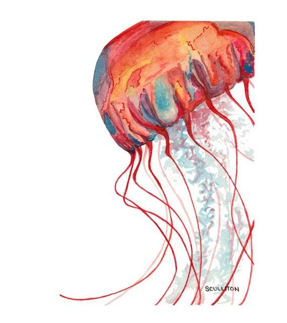 Jellyfish no 6 jellyfish art jellyfish painting orange for Jelly fish art