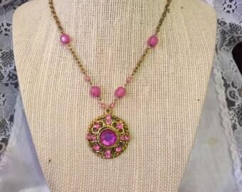 Pink and Gold Rhinestone Pendant
