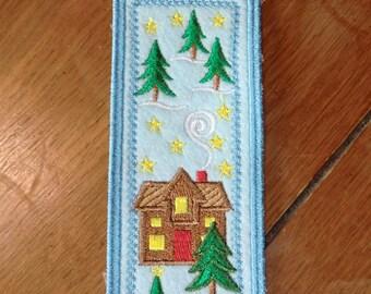 Embroidered Bookmark - Felt - Christmas - House & Trees - Light Blue Outline