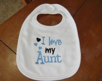Embroidered Baby Bib - I Love my Aunt - Boy