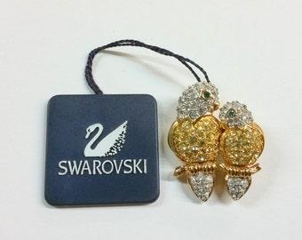 New Swarovski Double Parrot Pin / Brooch