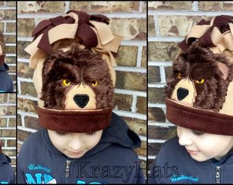 Fleece Bear hat.Bear hat.Size 5-8y.old.Ready to ship