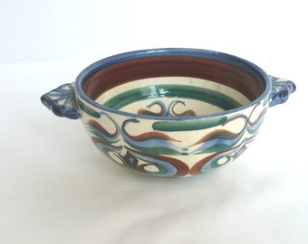 Vintage coffee bowl - vintage French coffee bowl - French cafe au lait bowl - blue and green French bowl - signed French pottery bowl