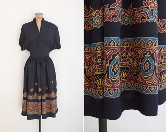 1940s Dress - Vintage 40s Black Embroidered Dress - Chennai Dress