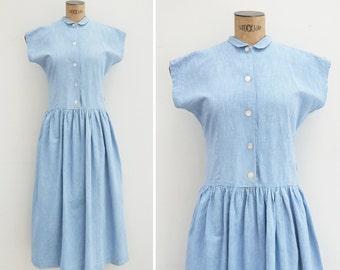 1950s Dress - Vintage 50s Blue Chambray Dress