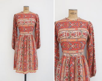 1970s Dress - Vintage 70s Tapestry Print Dress - Calle Imperial Dress