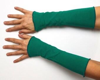 Long mittens Arm warmers light hand warmer emerald green jersey cotton