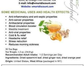 Simply Natural 100% Organic Spearmint, Ginger Root, Orange Peel Herbal Tea (30 Tea Bags) – Caffeine-Free