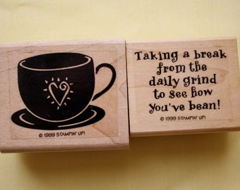 Taking a break From the Daily Grind Rubber Stamp Coffee Cup Set of 2