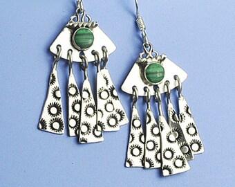 Malachite Earrings, Silver and Malachite Earrings, Malachite Dangle Earrings, Green Earrings, Malachite Chandelier Earrings, Malachite