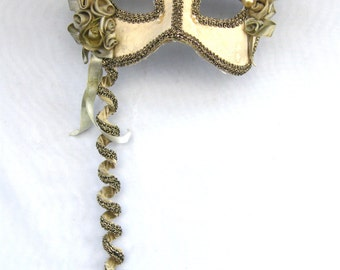 Vintage-Italian-Hand Made Silk & Brocade Opera/Masquerade Mask-Fancy Dress/Halloween/Baroque-circa 1980's