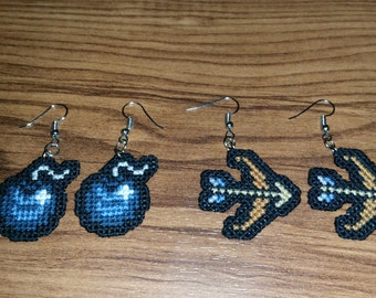 Zelda Bomb and Bow and Arrow Cross Stitched Earrings
