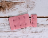 "1 Set Petal Pink 2 Hook and Eye Bra Closures 1.5"" x 2.125"" for Bra Making Lingerie  PROFESSIONALLY FACTORY DYED Heat Sealed Bramaking"