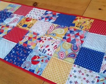 Patchwork Summer Table Runner, Cookouts, Fireworks, Patriotic Table Runner, Grilling, Red White and Blue Table Linens, Whimsical Home Decor