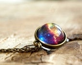 Nebula necklace,Nebula pendant, Planet jewelry, Blue purple yellow pink galaxy jewelry, Solar system necklace, universe ,Glass dome necklace