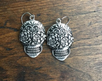 Sugar Skull Earrings Day of the Dead Silver