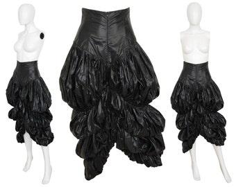 NORMA KAMALI 1980s 1990s Vintage Parachute Skirt Avantgarde Black Nylon US Size 6 Small