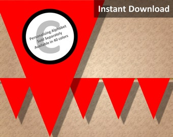 Red Solid Birthday Party Bunting Pennant Banner Instant Download, Party Decorations