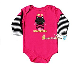 Bright Pink Baby First Halloween Scaredy Cat Onesie, Bodysuit, Top, Outfit, Shirt