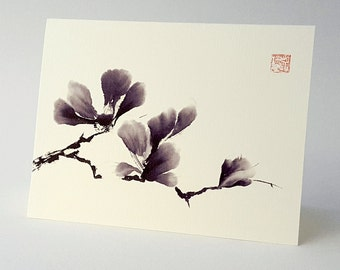 Black and White Magnolia Flower Art Notecard, Set of 8, A2 Size