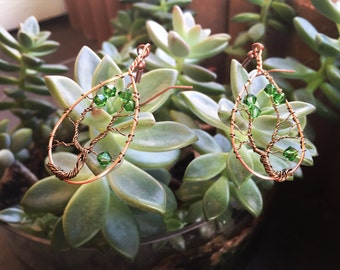 Tree of Life Earrings with Green Swarovski Crystals and Brass Wire