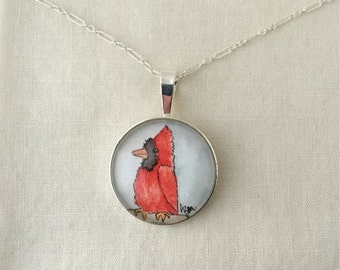 Cardinal  - Wearable Artwork Necklace - Original Watercolor Painting - One of a Kind - Sterling Silver