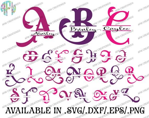 Digital Cut Files Split Elegant Letters Svg Dxf Eps