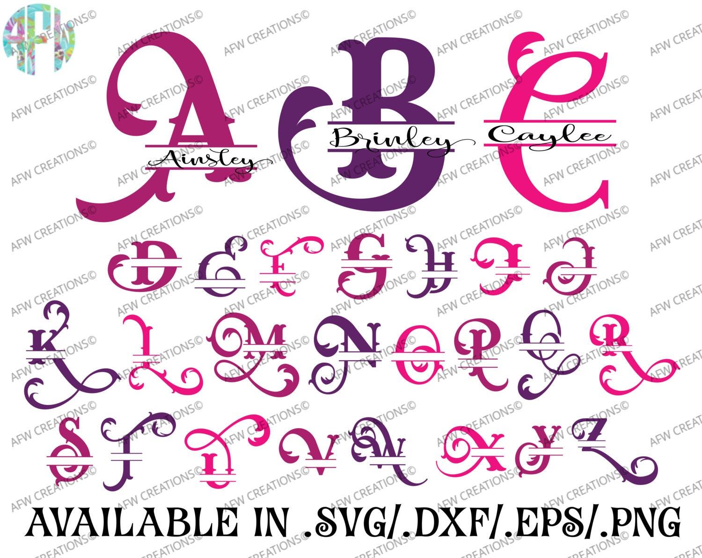 Download Digital Cut Files, Split Elegant Letters, SVG, DXF, EPS ...