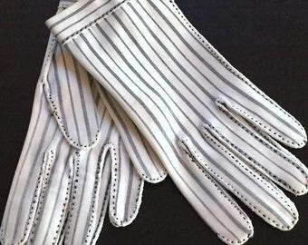EDWARDIAN Hermes Paris Le Gant Vintage Creme Black French Ticking Stripe Wrist Dress GLOVES 6.5 Downton Nouveau Gatsy Deco Burlesque Pin Up