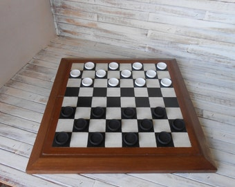 Checkers - Folding Checkerboard Game - Black and White Checkerboard - Game- Wood Board Game - Checkers Wood Board Game - Folding Checkers