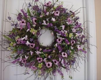 Spring wreath, spring door wreath, spring decoration, summer door wreath, front door wreath, outdoor wreath, purple wreath, door wreath