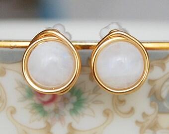 Moonstone Studs , Rainbow Moonstone Earrings , Gemstone Earrings , June Birthstone Earrings