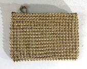Whiting and Davis gold mettalic metal mesh bag - 1950s metal mesh purse - gold purse - 1950s gold coin purse - cosmetic bag