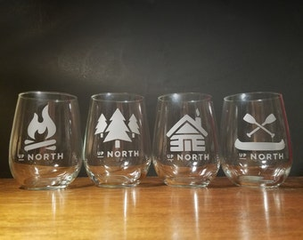 Up North Cabin Stemless Wine Glass