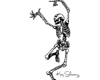 Dancing Skeleton Halloween Digital Clip Art, Instant Download, Tags, Treat Bags, Holiday Decor, 300 DPI, PNG, JPG