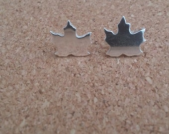 Maple Silver Earrings, Sterling Silver Maple Earrings, Silver Stud, Autumn Jewelry