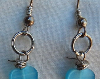 Small Light Blue Heart Earrings